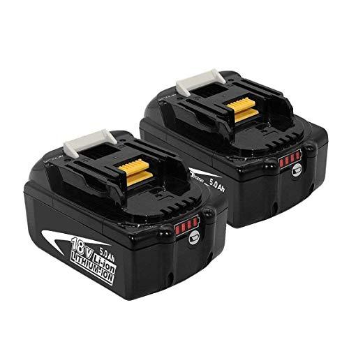 2X Batería de Repuesto BL1850B 5.0Ah para Makita Batería 18V BL1860B BL1860 BL1850 BL1845 BL1840B BL1840 BL1830 BL1825 BL1820 BL1815 LXT-400 con indicador