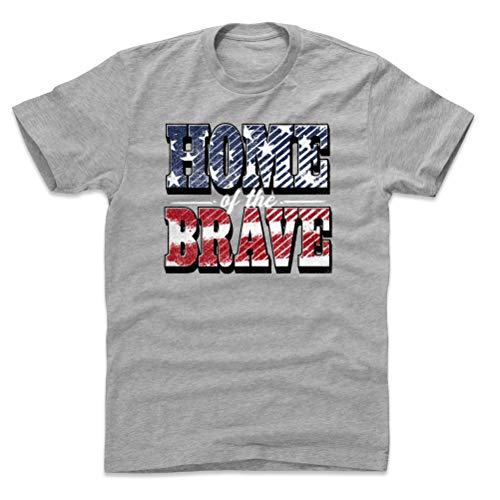 USA Shirt (Cotton, XX-Large, Heather Gray) - USA Home of The Brave Bold WHT