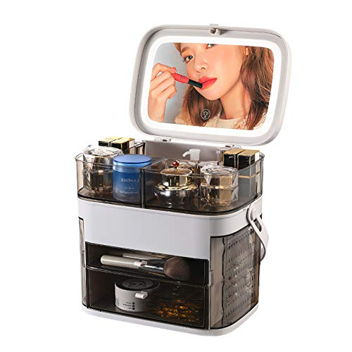 化粧品収納ボックス LED鏡付き 三段調光可能 メイクボックス 大容量収納 防水 防塵 強い耐久性 整理簡単 引き出し小物 アクセサリーケース付き おしゃれ 高級感 自宅用 出張 海外旅行 持ち運び便利 (グレー)
