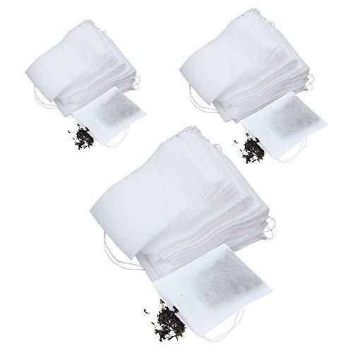 ShawFly 300 bolsas de filtro de te desechables, fuerte penetracion vacia bolsas de papel infusor de te con cordon seguro, para hacer te, sopa hirviendo, bano y bano de pies, hacer sobres (2)