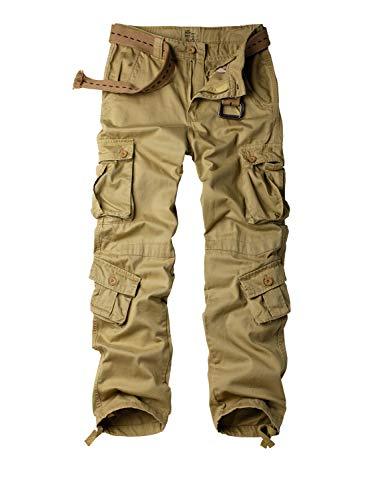 KOCTHOMY Pantalones tácticos militares para hombre, Ripstop, estilo casual, con bolsillos, de camuflaje, caqui, 42