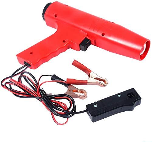 RELAX4LIFE Zündeinstelllampe, Zündzeitpunktpistole 12V, Zündung Timing Light, Zündlichtpistole inkl. Klammern, Stroboskoplampe für für Motorrad, Auto, Blitzpistole Rot, 8000U/min, 250 x 55 x 180mm