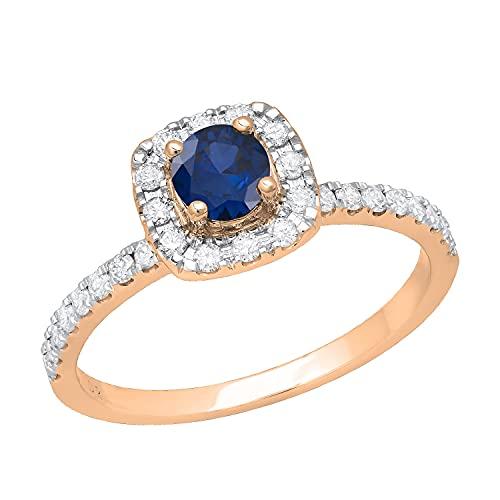 Dazzlingrock Collection Anillo de compromiso redondo de 4,5 mm con zafiro azul y diamante blanco, impresionante estilo halo para ella con piedras de hombro, oro rosa de 14 quilates, talla 5,5