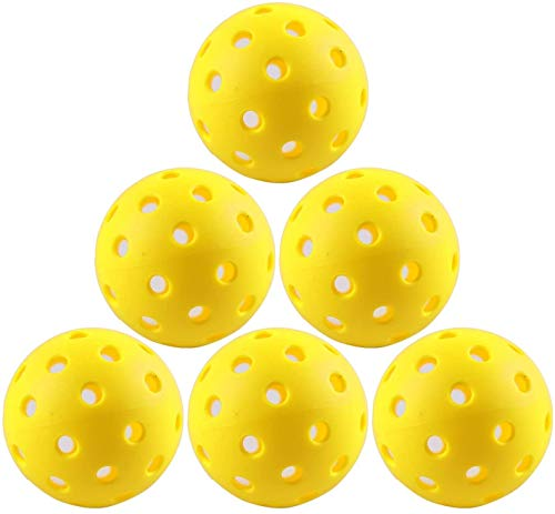 IUZIT Outdoor Pickleball Balls 40 Holes Specifically Designed for Pickleball Sport, Durable and Consistent Bounce Pickleballs for Outdoor & Indoor Use (6 Pack)