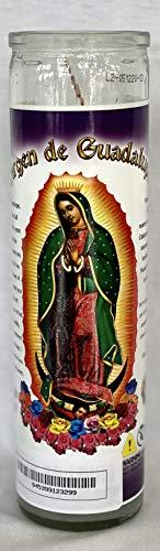 Virgen De Guadalupe Unscented Glass Prayer Candles, 8', Devotional Candles