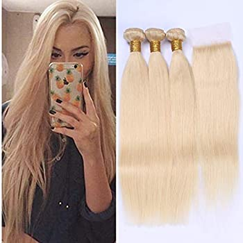 #613 Blonde Straight Human Hair Bundles with Closure Bleach Blonde 3 Bundles with Closure Straight Russian Blonde Hair Weave Bundles with 4x4 Lace Top Closure  18 20 22 with 18