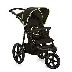 Hauck Runner driewieler jogger buggy tot 25 kg met liggende functie vanaf de geboorte, grote luchtwielen voor elk terrein, hoogte-verstelbare schuifhendel, compacte opvouwbare, zwart / neon geel *
