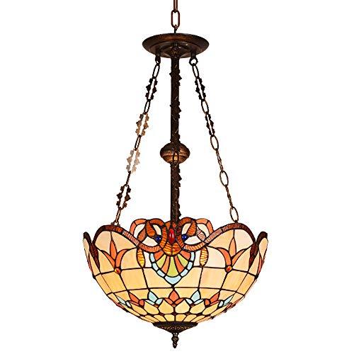 GAOJZ Lámparas de araña, Tiffany Estilo Vitral Lámpara de Techo Antiguo Vintage Hecho a mano Vidrio Decoración Lámpara Colgante para Sala De Estar Dormitorio Comedor Pasillo Cocina 16 Pulgadas