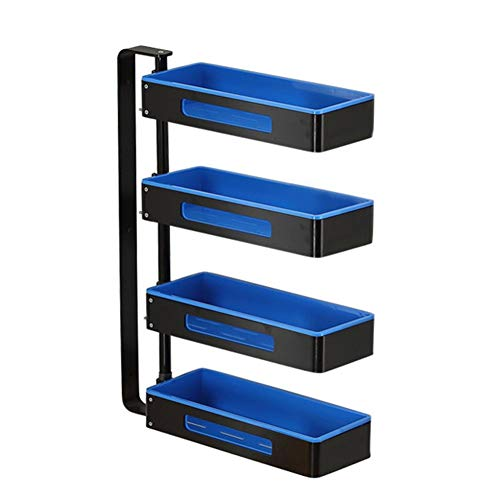 YLCJ 2 3 4 etages keuken kruidenrek wandplank hoekframe badkamer 180 graden draaibaar verstelbare ruimte aluminium gratuita blauw (grootte: 4 lagen)