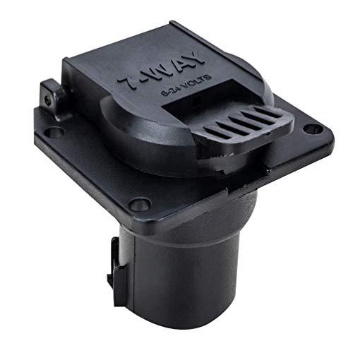 Vosarea 6-24 v 7 pin oblate anhänger stecker 7 Way klingenbuchse Adapter kabelstecker mit runde staubkappe für wohnmobile (schwarz)