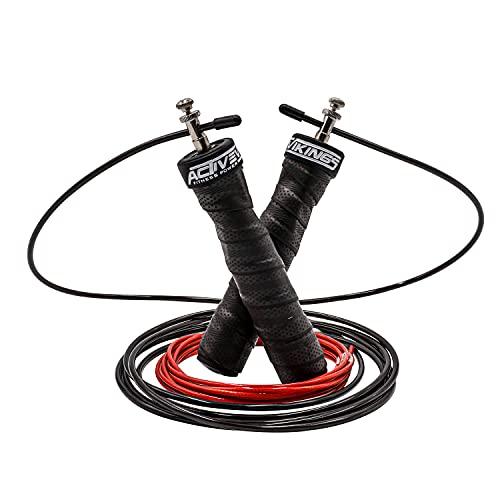 ActiveVikings Comba ideal para crossfit, deportes profesionales, entrenamiento cardiovascular, incluye 2 cuerdas de acero ajustables, mangos antideslizantes y rodamientos de bolas profesionales, para adultos, mujeres, hombres y niños