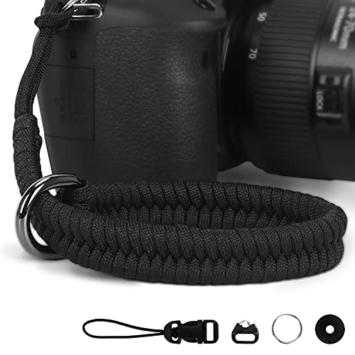 Hargedis Camera Wrist Strap, Hand-Woven Paracord Camera Hand Strap High-end and Secure Universal Adjustable, Suitable for Canon Sony Nikon Panasonic Fujifilm Olympus (Black)