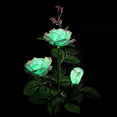 XLUX Decorative Solar Rose LED Lights, for garden yard patio pathway house decor, Mint green with red edge