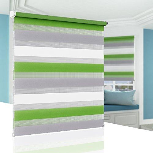 BelleMax Rollo für Tag und Nacht, doppelter Stoff, weiß, Vorhang ohne Bohren, mit Clips, mehrfarbig, 2 Arten von Installation und einfache Montage, Stoff Polyester, Weiß / Grau / Grün, 60 x 100cm