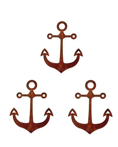 Bornhöft Edelrost Anker 3er Set 20cm hoch - Rost Gartendeko Maritime Metall Dekoration Garten