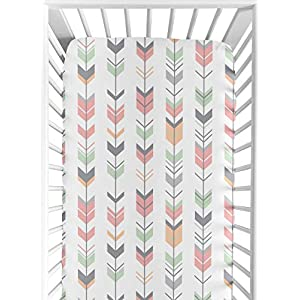 Fitted Crib Sheet for Grey, Coral and Mint Woodland Arrow Baby/Toddler Bedding Set Collection – Arrow Print