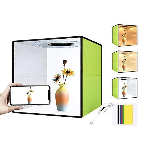 WENKEN Fotostudio-Lichtbox-Kit, Mini-Fotografie-Leuchtkasten, mit 80 SMD-LED-Perlen, tragbares Fotostudio-Shooting-Zelt, zusammenklappbar,...