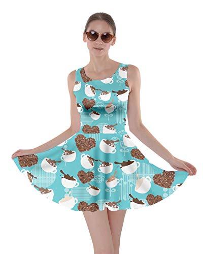 CowCow Womens Mint Coffee Pink Lollipop Candy Macaroon Cupcake Donut Skater Dress, Mint - S