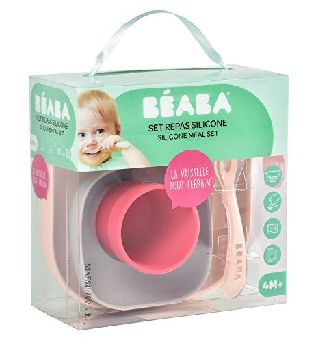 BEABA(ベアバ)BEABAベアバくっつく吸盤付きシリコン食器セット4個セットピンクFDEA913429