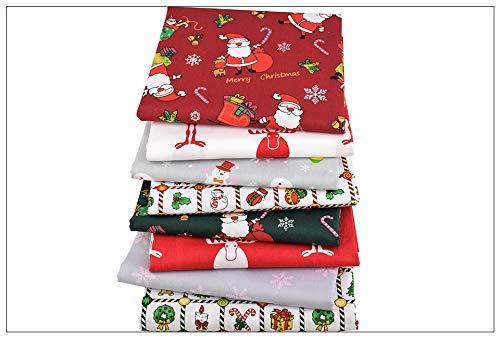 8 Ideales telas Navideñas para vestiditos, cocinas, cojines, costura, colchas, toallas, banderines, attrezo casa de muñecas, caravanas, guirnaldas, manualidades de costura 40 x 50 cm de CHIPYHOME