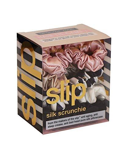 Slip Silk Midi Scrunchies in Black, White, Navy Stripe, Pink and Caramel - 100% Pure 22 Momme Mulberry Silk Scrunchies for Women - Hair-Friendly + Luxurious Elastic Scrunchies Set (5 Scrunchies)