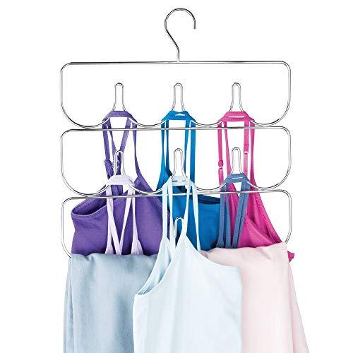 mDesign Kledingkast Accessoires Organisator - Draad Metalen Hangkast Opslag met 10 vakken - Multi-Layer Broek Hanger Rack voor Yoga Broek, Leggings - Kleding Organisator - Chroom