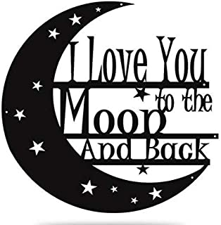 Steel Roots Decor Powder Coated Metal I Love You to The Moon and Back Wall Art Laser Cut Holes 18 inch (Black)