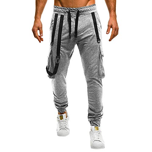 Kaister Pantalon Cargo Slim Homme Casual Couleur Unie La Formation Pantalons Jogging Multi Poche Cordon de Serrage Baggy Style Pants de Survêtement M-3XL(Gris,3XL)