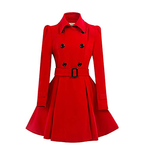 ForeMode Women Swing Double Breasted Wool Pea Coat with Belt Buckle Spring Mid-Long Long Sleeve Lapel Dresses Outwear(Red3,Small)