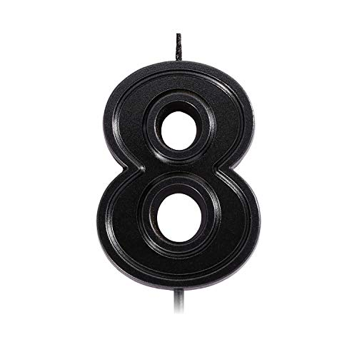 2.76 Inches Black Birthday Number Candles, Glitter Numeral Candles Cake Topper Decoration for Birthdays, Weddings, Reunions, Theme Party (8)