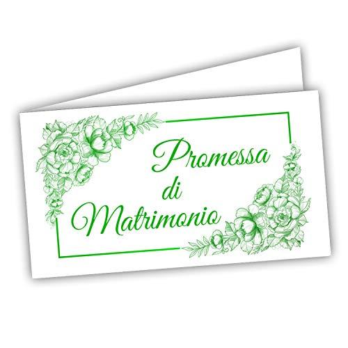 Bigliettini Bomboniera Promessa - Biglietti per fazzoletti confetti Promessa Matrimonio, 60 pezzi pretagliati - stampa l interno con link e il foglio di prova per non sbagliare