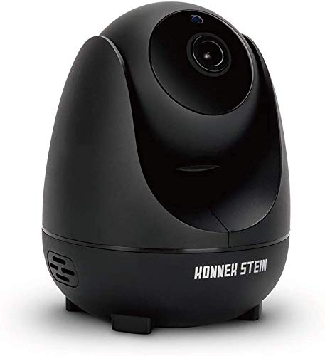 Konnek Stein Camera Dome Surveillance Cameras WiFi Home Security Systems 360 Degree Monitoring HD 1080P Motion Detection IR Night Vision App Remote Control Two-Way Audio 3 Storage SD Card Slot Black