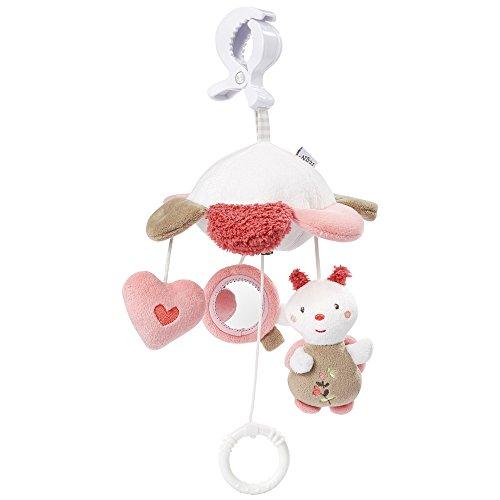 Fehn 068078 Mini-Musik-Mobile Blume / Spieluhr-Mobile für Unterwegs zum Befestigen an Kinderwagen oder Babyschale - für Babys und Kleinkinder ab 0+ Monaten
