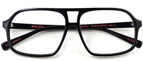 J&L Glasses Retro Klassisches Nerd Klar Hornbrille Brille mit Fensterglas Damen Herren Brillenfassung holz Stil 8896 (Bright black)