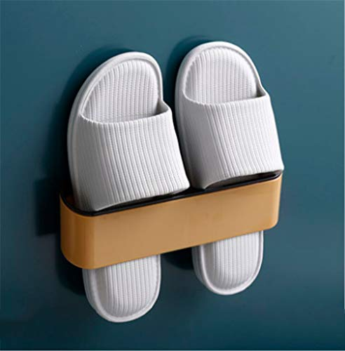 WEN DONG Bathroom Slipper Rack Wall-Mounted Bathroom Wall Shoe Bracket Without Punching Holes to Place Shoes to Accept Artifacts and Save Space(Yellow)