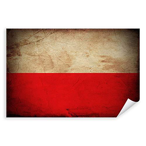 Postereck - 0314 - Vintage Flagge, Fahne Polen Warschau - Unterricht Klassenzimmer Schule Wandposter Fotoposter Bilder Wandbild Wandbilder - Poster mit Rahmen - 29,0 cm x 19,0 cm