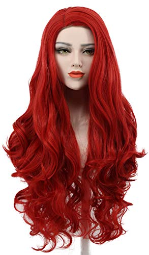 Karlery Women's Long Wave Red Hair Halloween Cosplay Wig Anime Costume Party Wig