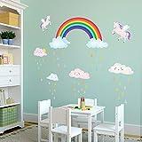 DECOWALL DA-2008 Arcoiris y unicornio Vinilo Pegatinas Decorativas Adhesiva Pared Dormitorio Saln Guardera Habitaci Infantiles Nios Bebs