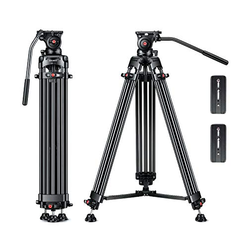 """【Tilt Tension Design】 RAUBAY 70.8"""" Professional Heavy Duty Video Camera Tripod with Fluid Head and 2 QR Plates for DSLR Camcorder, Max Loading 17.6lbs, Aluminum Twin Tube Leg with Mid-Level Spreader"""