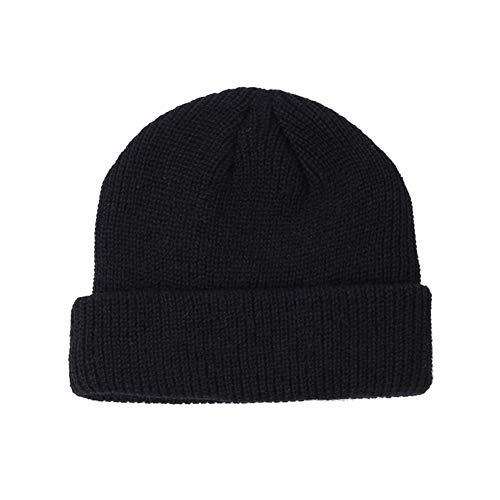 SEGRJ Wintermütze, warm, Unisex, faltbar, weich, gestrickt, einfarbig, für Straße, Outdoor, Sport, tragbar, Schwarz