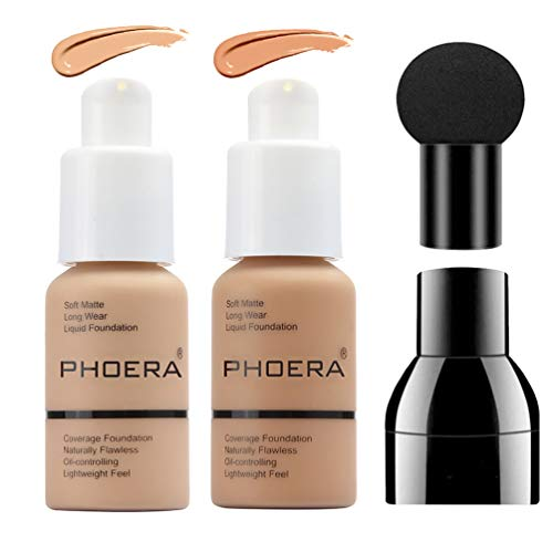 2 Colors PHOERA Liquid Foundation,Matte Full Coverage Foundation Makeup with Mushroom Head Applicator, Oil Control Flawless Concealer Cover Facial Blemish Foundation Makeup for Women (104# and 105#)
