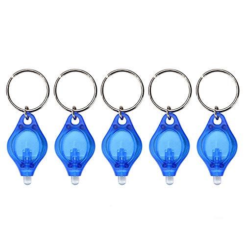 Mini linterna con llavero, 5pcs luz LED portátil, llavero super brillante Antorcha del bolsillo de la lámpara del dedo, Lámpara colgante del llavero para áreas oscuras Camping/Caza/Senderismo, Azul