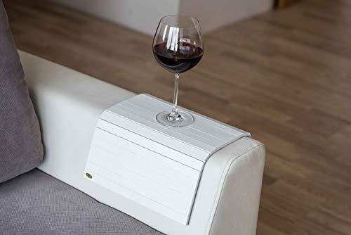 Bandeja de brazo de madera para sofá o sofá, con protectores de reposabrazos blanco