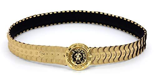 MARSHAL METAL Fashion Belt Metallic Mermaid Scale Stretch Waist Belt (Gold Lion)