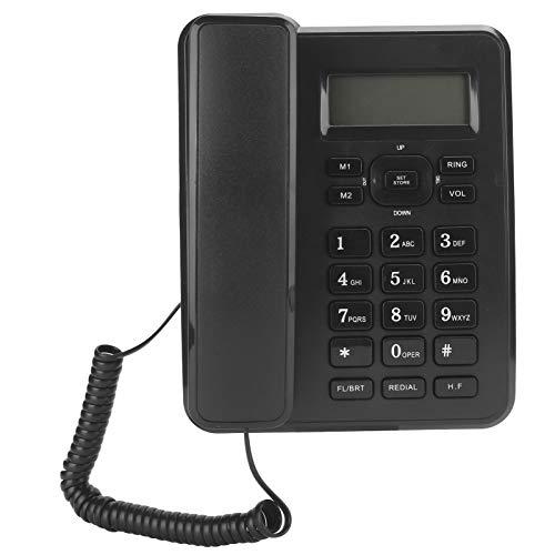Teléfono fijo, línea fija doméstica con cable, para oficina comercial, teléfono de escritorio con cable, pantalla de identificación de llamadas, 16 tonos de llamada, 3 conjuntos de funciones de alarma