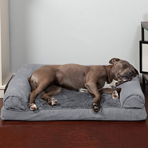 Furhaven Orthopedic Pet Bed for Dogs and Cats - Sofa-Style Plush Fur and Suede Couch Dog Bed with Removable Washable Cover, Gray, Large