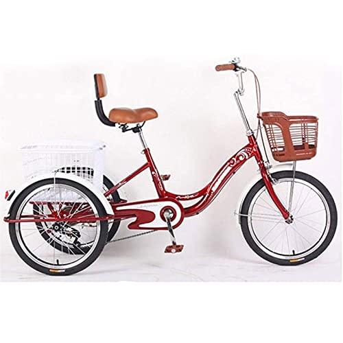 SN Triciclo 3 Ruedas para Adultos Crucero De Carga con Cesta para Comprar O Espalda Alta Bicicleta De Ejercicio para Hombres Mujeres Bicicleta (Color : Red)