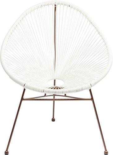 Kare Stuhl Spaghetti, Moderner Lounge Sessel im Retro-Design für Den Innen- und Outdoorbereich, weiß-Rosegold (H/B/T) 88x73x79,5cm