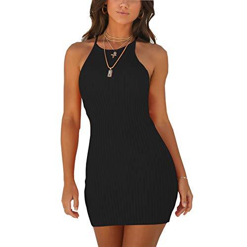 WANPUL Sommerkleid Damen Sexy Kurz Bodycon Kleid Schulterfrei Ärmelloses Slim Fit Casual Cocktail Geripptes Kleid Schwarz S