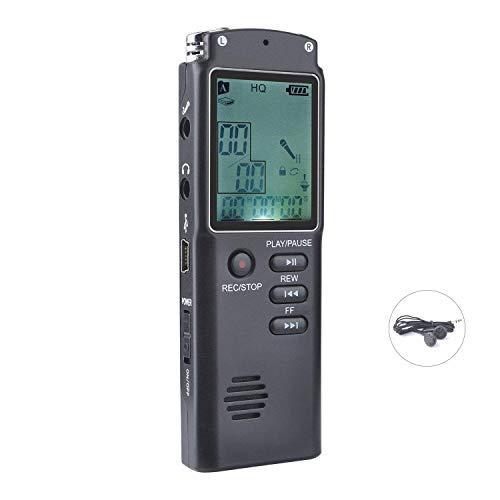 nbws–Dictáfono digital, USB 8GB HD Stereo Audio Grabación dispositivo 1536Kbps Voice Recorder con doble micrófono Reconocimiento de voz Altavoz Clase de cancelación de ruido para conferencias